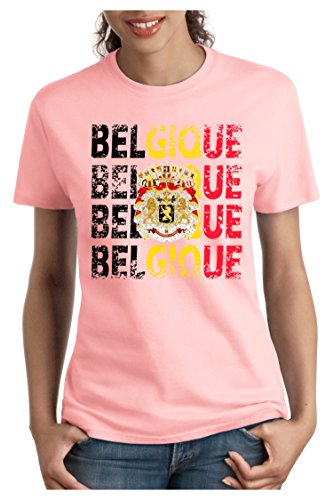 OM3 - BELGIQUE - Damen T-Shirt tailliert - BELGIUM EM 2016 FRANKREICH FRANCE FUSSBALL FANSHIRT SOCCER SPORT TRIKOT EUROPAMEISTER, S - XXL Rosa