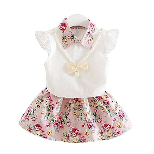 Neue Baby Klamotten (Babykleidung Baby Klamotten Neugeborene Kleidung Longra Baby Kleider Mädchen Kleider Blumenspitze Kurzarm T-Shirt Tops Blumen Rock Babymode Mädchen Sommerkleider Kleidungs-Satz (Pink, 90CM 12Monate))