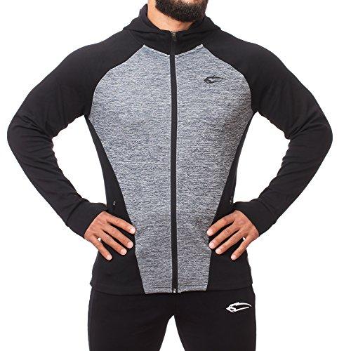 SMILODOX Kapuzenpullover Herren | Zip Hoodie für Sport Fitness Training & Freizeit | Trainingsjacke - Sportpullover - Sweatjacke - Kapuzenpulli mit Reißverschluss Schwarz / Grau