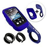 TUFF LUV [Combo / Kit 3 in 1], Étui de protection en silicone et protecteur d'écran Fixation Avant / Ordinateur de Guidon Support mount pour Garmin Edge Touring 800 / 810 with Out-Front Handlebar Mount - Bleu