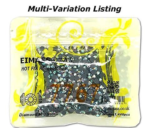 Pack of 1440 (ss10 (3mm), Crystal AB Vector), EIMASS® 7767 Range Hotfix Glass Rhinestones Flat back Crystals
