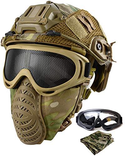 QHIU Casco táctico Fast Casco de protección rápida de Seguridad para CS Airsoft Paintball con máscara y Gafas, MC, Talla única