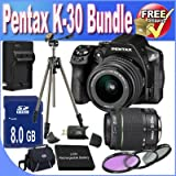 Pentax K-30 Digital Camera With 18-55mm AL And 50-200mm AL Lens Kit (Black) + 8GB SDHC Class 10 Memory Card + Extended Life Battery Accessory Saver Bundle!