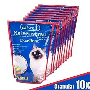 Sparpack: 10x Catwell Silikat Katzenstreu | Granulat 100% biologisch abbaubar | Katzen Streu geruchsbindend | Allergiker geeignet