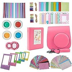 FollowSun 10 en 1 Accessoires pour Appareils Photo Instantané Fujifilm Instax Mini 9, Mini 8 8+: Etui/Album/Selfie Objectif/Filtres Colorés/Cadres/Bordures/Coins Autocollants(Flamingo Rosa)