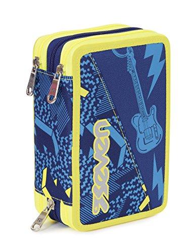 Estuche Escolar 3 Pisos – Seven – Thunder – Multi Compartimentos con lápiz, rotuladores, boligrafos… Azul Amarillo