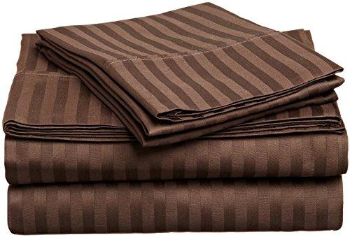 UK König Größe Duvet Cover Set Luxus weichen 600 Thread Count 100% ägyptische Baumwolle Bettwäsche Schokolade Streifen (Schokoladen-könig Bettwäsche-sets)