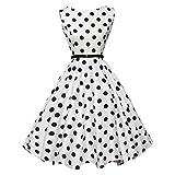 Lenfesh Vintage 1950's Audrey Hepburn pin-up robe de soirée cocktail - Imprimé à pois sans manches - style halter années 50 à pois - Femme (S, Blanc)
