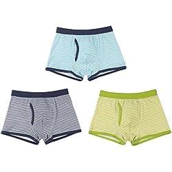 Sivice - Underwear for Kids Slips para Niños de Algodón Suave Transpirable Pack de 3 Calzoncillos de Rayas con Abierto Cómodo Ligero Casual Diseño Simple - 8-9 Años