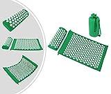 Leogreen - Tappetino E Set Di Cuscini ago-pressione, Set Di Massaggi Domestici, Verde, con borsa e cuscino, Standard/Certificazione: ROHS, Numero di chiodi: 66 pezzi su cuscino