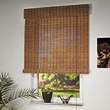 Liedeco Rollo Holz mit Seitenzug, Holzrollo für Fenster und Tür braun B 120 cm x L 17...
