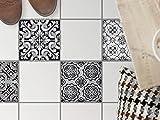 Bodenbelag Fliesen renovieren | Dekorativ-Dekorsticker Küchenfliesen Bad-Folie Badezimmergestaltung | 20x20 cm Muster Ornament Black n White - 4 Stück