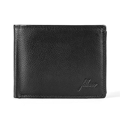FILLASO Geldbörse Herren aus schwarzem Echtleder - Premium Geldbeutel für Männer mit 8 Kartenfächern und Münzfach - Portemonnaie/Ledergeldbörse