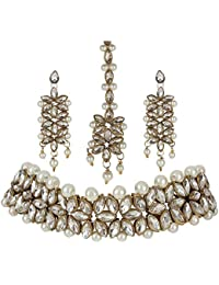 Sadhana Collection Traditional Jewellery Kundan Pearl Necklace Choker Set With Earrings For Women