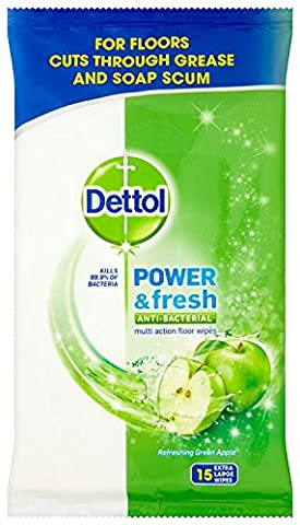 Dettol Floor Cleaning Wipes Power & Fresh Apple, 15 Wipes(Pack of 3)