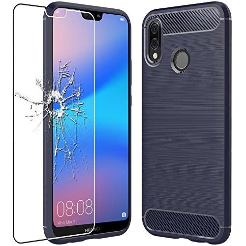 ebestStar - Cover Huawei P20 Lite Custodia Protezione Silicone Gel TPU Design Fibra di Carbonio Anti Scivolo, Blu Scuro + Pellicola Vetro Temperato [Apparecchio: 148.6 x 71.2 x 7.4mm, 5.84\'\']