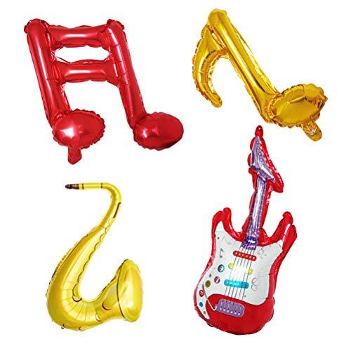 YeahiBaby Große Musik Hinweis Typ Folien Luftballons Musik Instrument Ballon für Musik Thema Party Dekorationen 6 Stück