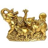 Chino FengShui hecho a mano latón Próspero elefante estatuas Golden familia riqueza de elefante figura decorativa Decoración del hogar regalo de inauguración de la casa de felicitación BS088
