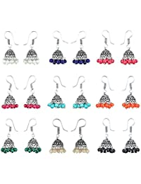 KAEJYMERS Multicolor Silver-Plated Combo Of 9 Jhumki Earrings For Women