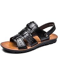 Sandale Homme Cuir Plage, été Randonnée Bout Sport Marche Extérieurs Legere Confort Ouvert Plate Chaussure Surf Piscine Noir Marron 38-47