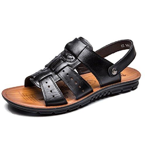 Hafiot uomo estivi sandali pelle, sportivi antiscivolo morbido piscina mare antinfortunistica spiaggia scarpe aperti nero marroni 38-47 bk41