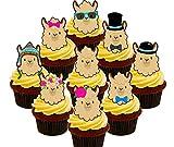 Llama/alpaca Party Pack, comestible decoración para tarta,–para magdalenas de oblea toppers