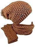 TEA 3 teiliges Damen Winterset Schal Mütze Handschuhe (braun haselnuss)
