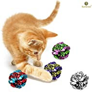 12 Mylar Crinkle Balls For Cats --- Soft, lightweight & fun toy for both Kittens & Adult Cats - Shiny & Stress Buster Toy - Interesting Crinkly Sounds - Hours of Entertainment - Safe for your kitty