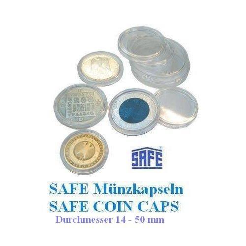 5 x SAFE Münzkapseln CAPS 34 mm / - Ideal für große Medaillen - Münzen - Anlagemünzen - 20 Mark DDR - 100 Peseten Spanien - 50 ÖS Schillinge - 20 $ USA Double Gold Eagle - Coincaps - Münzenkapseln -