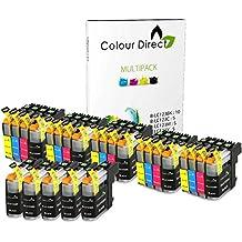 25 XL ( 5 juegos + 5 Negro) Colour Direct Cartuchos de tinta Reemplazo Para Brother LC123 - DCP-J132W DCP-J152W DCP-J552DW MFC-J650DW DCP-J752DW DCP-J4110DW MFC-J870DW MFC-J4410DW MFC-J4510DW MFC-J4610DW MFC-J4710DW MFC-J470DW Impresoras