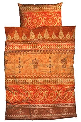 LIVING DREAMS Mako-Satin Bettwäsche Indi 135 cm x 200 cm orange Terra orientalischer Flair Ornamente Reine Baumwolle