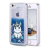 CaseLover Coque iPhone 5, Coque iPhone Se Glitter Liquide, Dynamic Paillettes Housse Étui pour iPhone 5/5S/SE Soft Transparente TPU Silicone Case Cover avec Mignon Licorne Coque Antichoc - Bleu