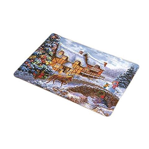 Weihnachten Schneelandschaft Drucken Fußmatten Rutschfester Waschbarer Sauberlaufmatte Viele Größen Und Farben Zur Auswahl 50x80CM ,
