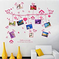 Fagreters Pink Romantic Love Rope Photo Wall PVC Wall Sticker Decals/Adhesive Family Wall Stickers DIY Mural Art for Home Decor