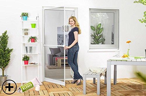 Insektenschutz Fliegengitter Tür Alurahmen START in weiß, braun oder anthrazit 100 x 210 cm mit Scharnierkleber
