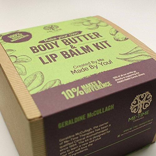 Kit de fabricación de crema corporal y bálsamo del labios (vegano, ético, ingredientes naturales para el cuidado de la piel)