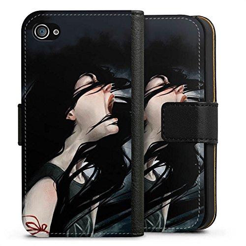 Apple iPhone X Silikon Hülle Case Schutzhülle Schrei Mädchen Kunst Sideflip Tasche schwarz