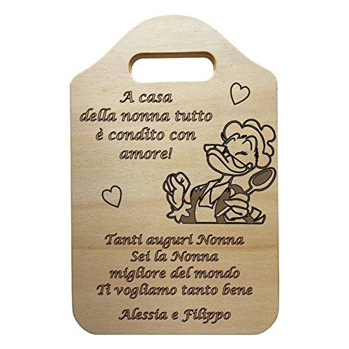 Tagliere decorativo in legno idea regalo nonna con frase personalizzata accessorio cucina