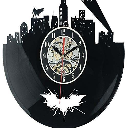 dufgbiHorloge Murale en Vinyle, Signe de la Ville Design, Horloge Murale, mécanisme,Horloge Noire