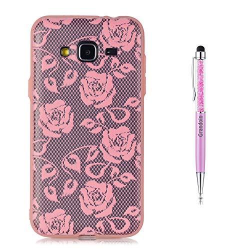 Grandoin Galaxy J3 2016 Hülle,J310 Hülle, 2 in 1 Ultra Dünne Schale Luxus Ultra Dünn Weich TPU Bumper Case Silikon Schutzhülle für Samsung Galaxy J3 2016 / J310 (Pinke Rose)