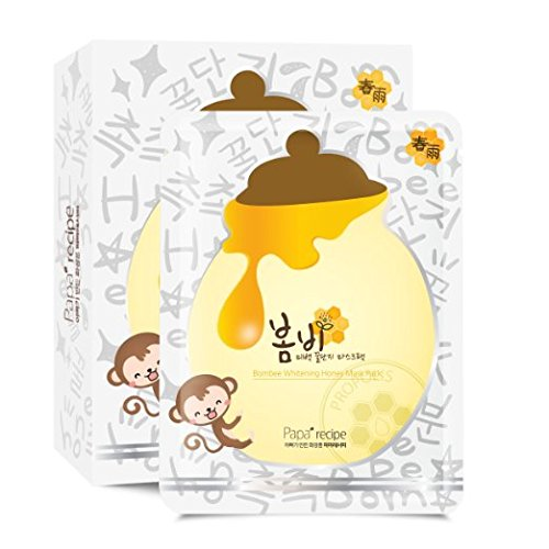 [Papa Recipe]Bombee Whitening Honey Mask -Facial Sheet Mask (Pack of 10 sheets, 25g per sheet) - Best for Facial Treatment, Honey and Propolis extract help to moisturize your skin -Quick and Easy