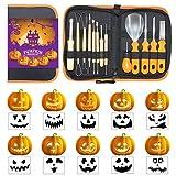 ALDOM Kürbis Schnitzset 13-teilig Professionelles Kürbis Schneidzubehör Werkzeuge Edelstahl mit Schablonen für Halloween Dekoration von Jack-o-Laternen