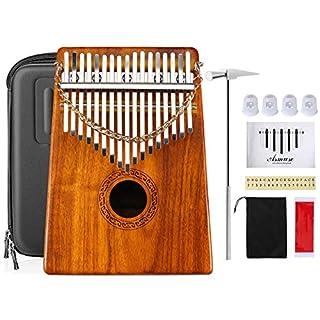 Asmuse KOA Kalimba Daumenklavier 17 Schlüssel Mbira Instrument mit Tragetasche Musik Buch Musikwaage Aufkleber Stimmhammer und Fingerschutzplektren
