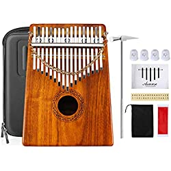 Asmuse Kalimba Thumb Piano 17 Teclas Mbira Madera Maciza Finger piano Sanza Thumb Instrumento con Bolsa de Transporte Música Songbook 15 canciones Guía de estudio (Solid KOA Wood)