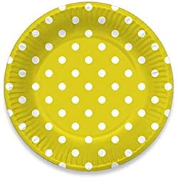 "LolliZ 9 ""platos de papel. Amarillo/lunares, 12-pcs"