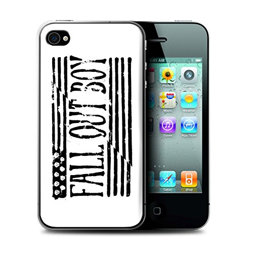 Offiziell Fall Out Boy Hülle / Case für Apple iPhone 4/4S / Flagge/Weiß Muster / FOB Band Logo Kollektion (Iphone 4 Amerikanische Flagge Fall)