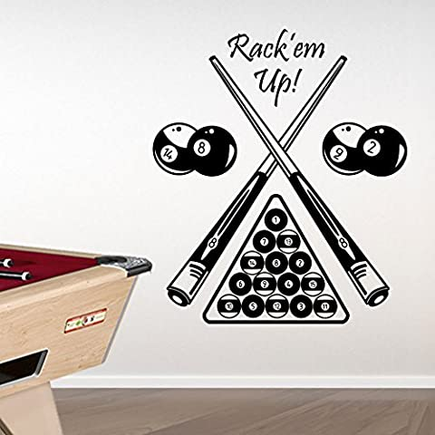 Billard de table Kids Billard Américain New transferts mur Stickers New Sticker mural Papier peint décor DIY Déco Amovible Stickers Muraux Stickers colorés A314, Vinyle, noir, Medium-Set