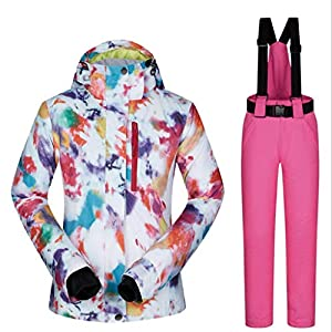Zlw-shop Schneeanzüge Skianzug Winterbekleidung Mode Damen High wasserdicht Winddicht Snowboard-Bunte gedrucktes Ski-Jacke und Hose Skianzug