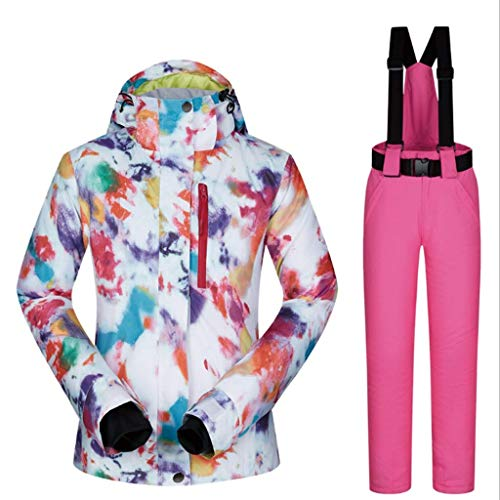 Zlw-shop Schneeanzüge Skianzug Winterbekleidung Mode Damen High wasserdicht Winddicht Snowboard-Bunte gedrucktes Ski-Jacke und Hose Skianzug (Color : Pink, Größe : S)