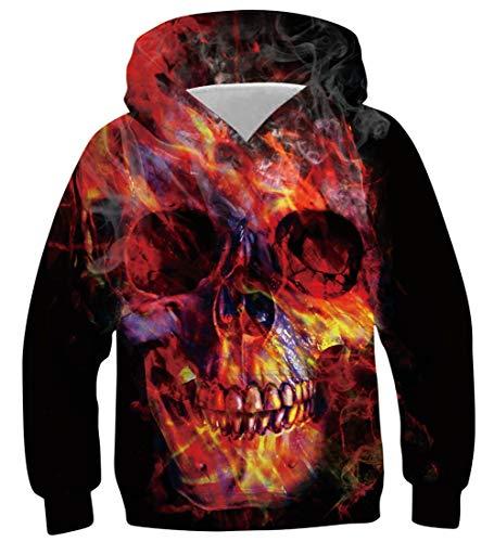 AIDEAONE Pullover Jugend Teenager Schwarz Rot 3D Hoodie Hooded Sweatshirt 14-16 (Lustige Kostüm Für Schwarze Jungs)